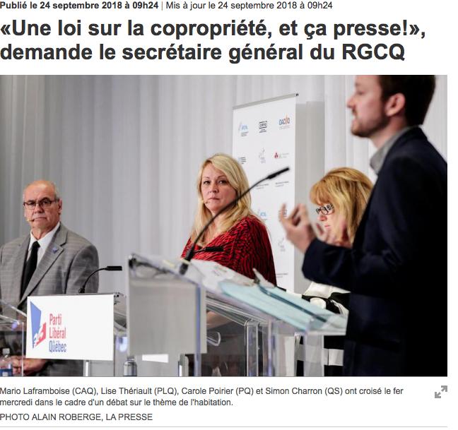 «Une loi sur la copropriété, et ça presse!», demande le secrétaire général du RGCQ